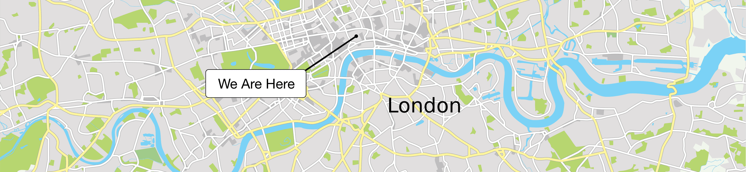 Map of London with our office pinned
